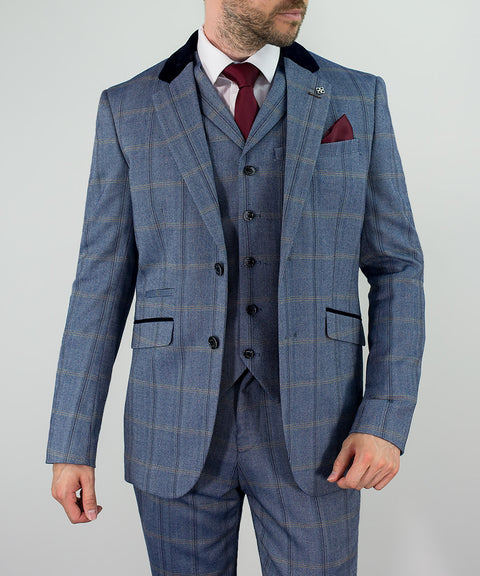 House Of Cavani Connall Blue Tweed Check Three Piece Wedding Suit