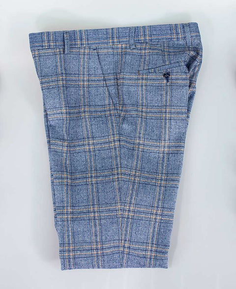 House Of Cavani Brendan Blue Check Trousers