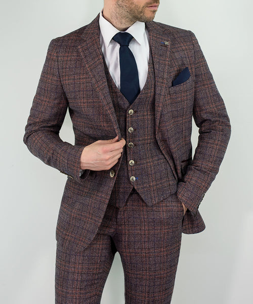 House Of Cavani Brendan Wine Check Three Piece Wedding Suit