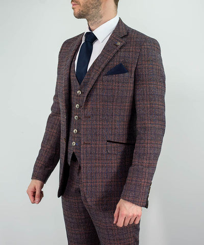Brendan Wine Check Slim Fit Suit