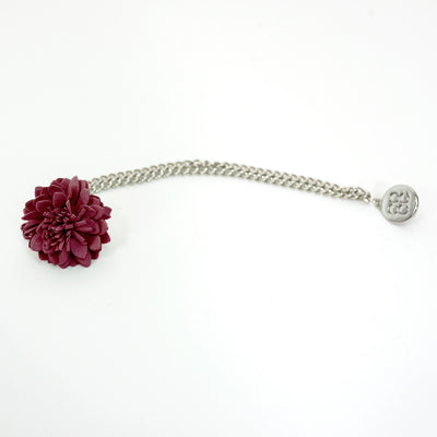 Burgundy Lapel flower Chain Pin