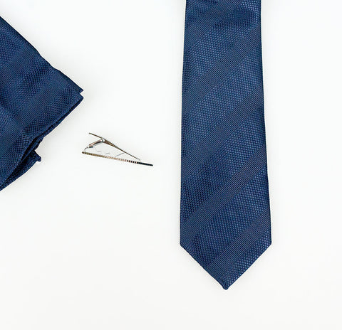 Navy Self Stripe Tie Set - Cavani
