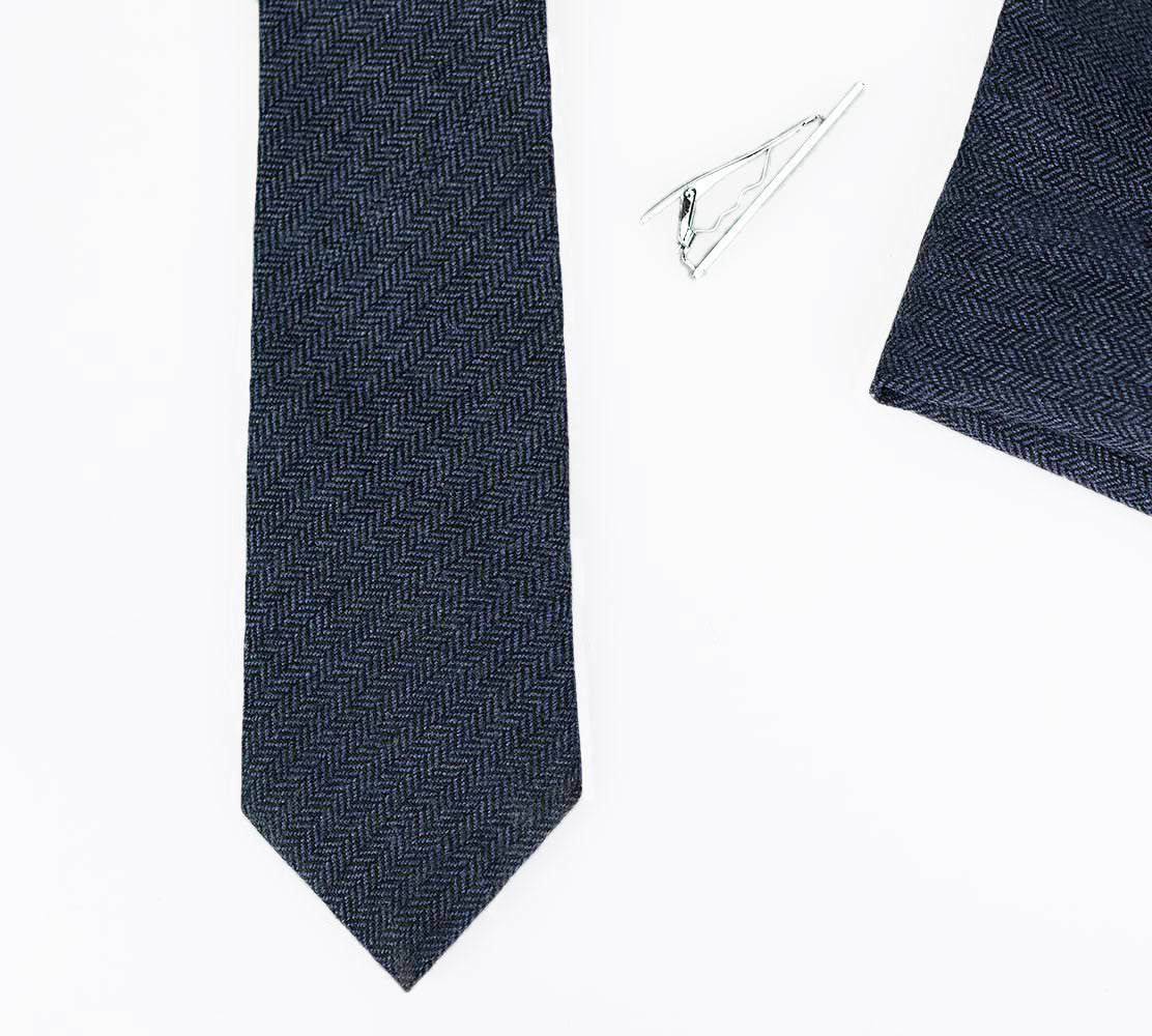 Martez Navy Tweed Tie Set - Cavani