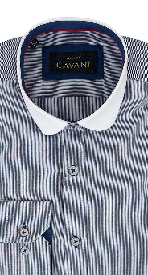 Shirt No. 645 Navy Stripe