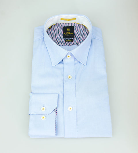 Oxford 65 Light Blue Stretch Shirt - Cavani