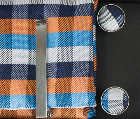 No.8 Teal & Orange Tie Gift Set