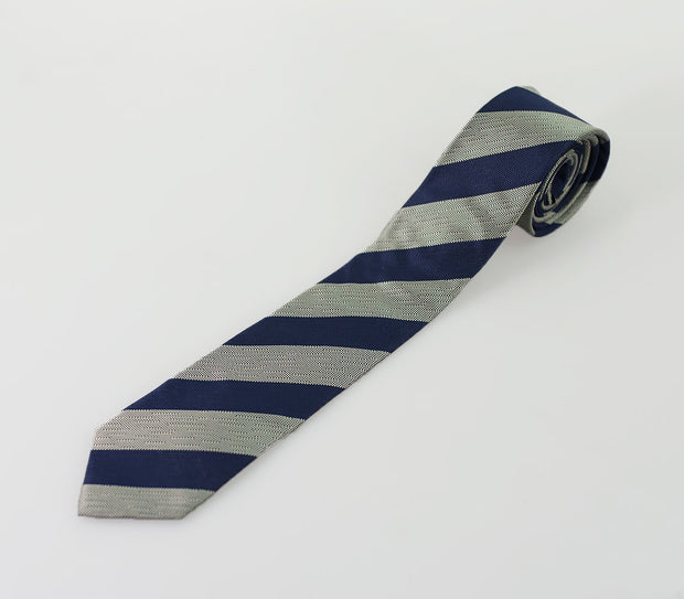 House Of Cavani Light Grey Navy Self Stripe Tie Set