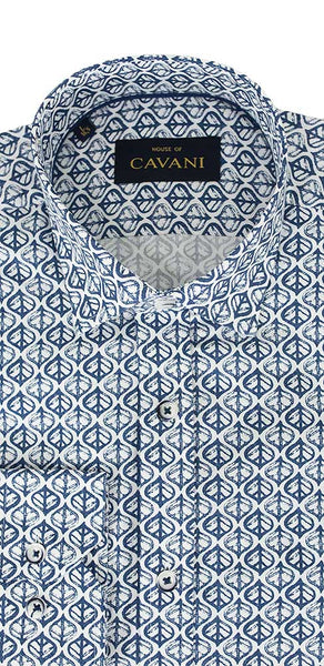 House Of Cavani Leaf Print Blue White Shirt
