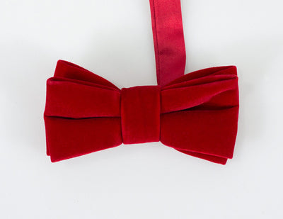 Red Velvet Bow Tie Set