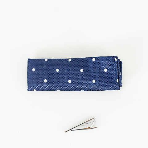 Navy Dot Knitted Tie Set
