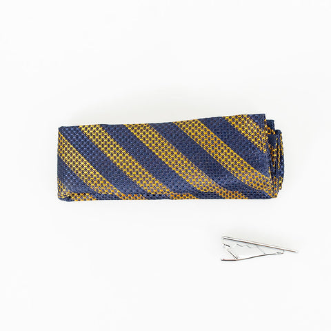 Tobacco & Navy Stripe Knitted Tie Set