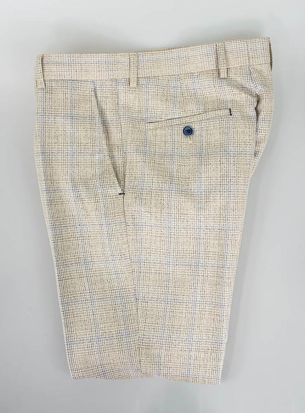 House Of Cavani Caridi Beige Check Trousers