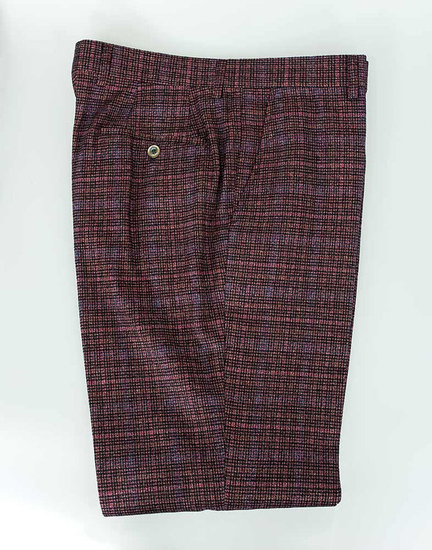 House Of Cavani Carly Tweed Wine Red Check Three Piece Wedding Suit