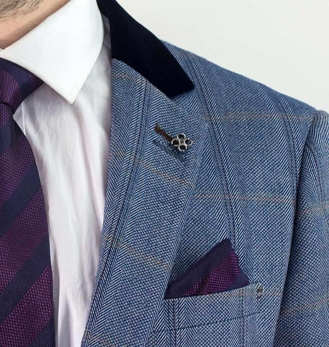Connall Blue Tweed Check Blazer