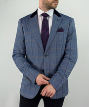 House Of Cavani Connall Blue Tweed Check Blazer Jacket