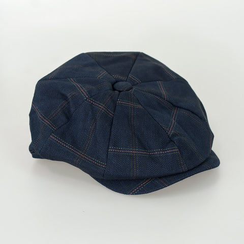 Connall Navy Tweed Baker Style Flat Cap