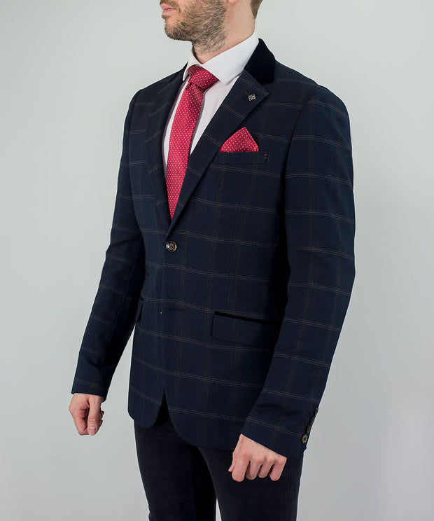 Connall Navy Tweed Check Blazer