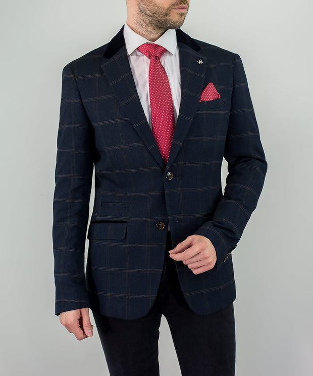House Of Cavani Connall Navy Tweed Check Blazer