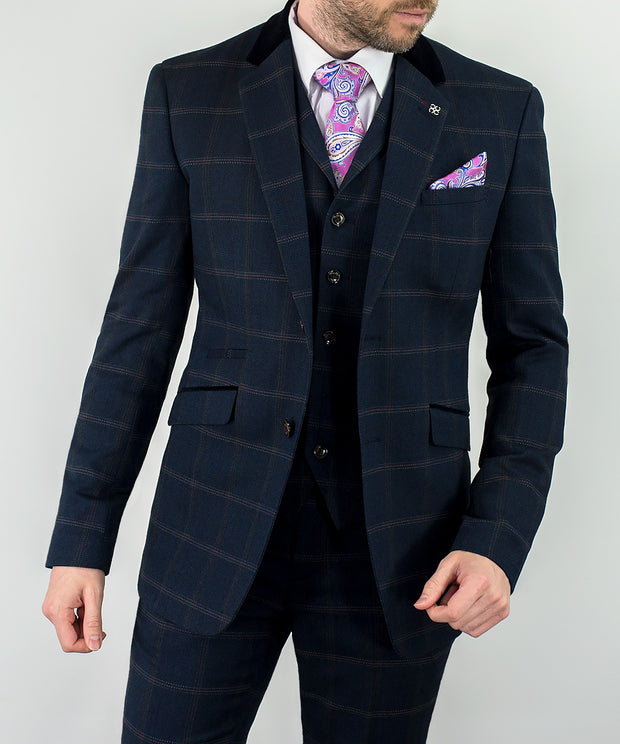 Connall Navy Tweed Check Suit