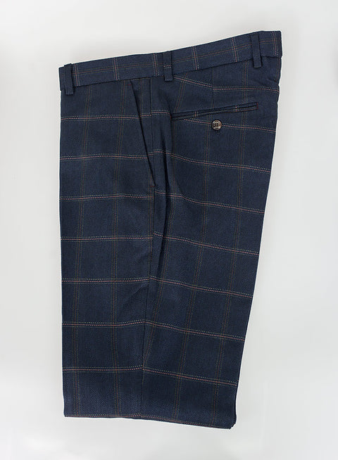 House Of Cavani Connall Navy Tweed Check Trousers