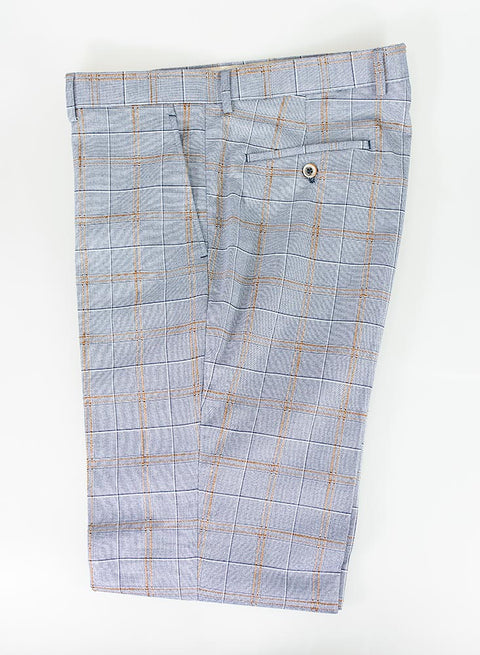 Cristo Blue Check Slim Fit Trousers