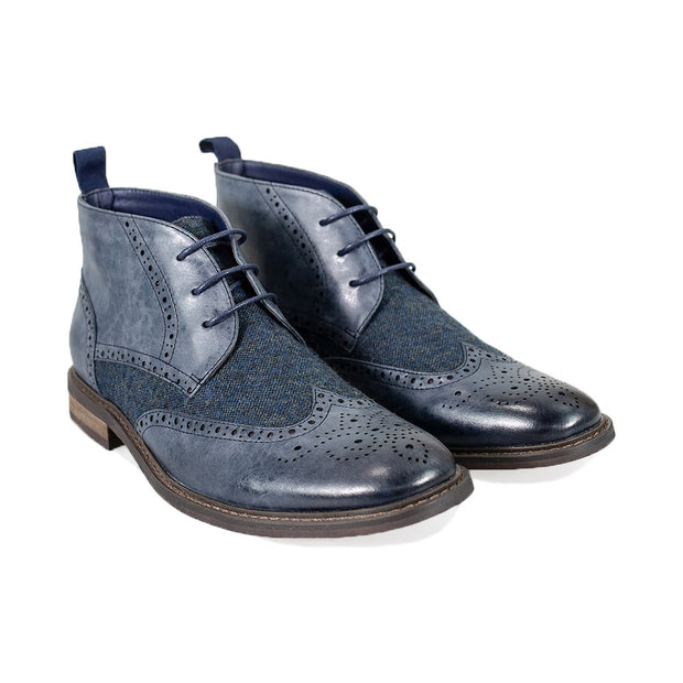 Curtis Navy Lace Up Boots