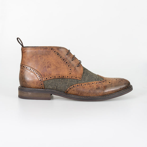Curtis Tan Lace Up Boots