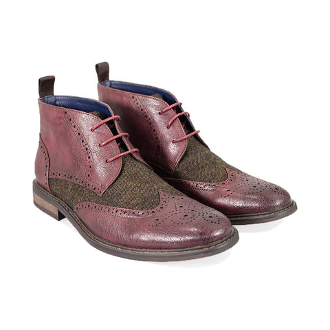 Curtis Wine Lace Up Boots