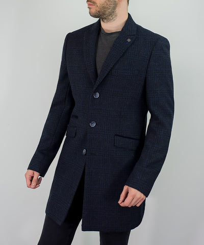 House Of Cavani Danilo Navy Check Autumn Winter Overcoat