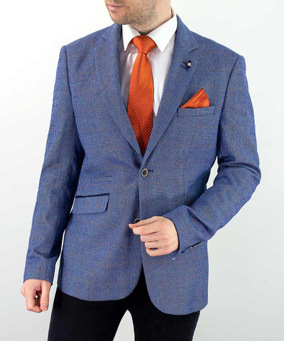 Del Ray Blue Check Slim Fit Blazer