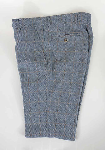 Del Ray Blue Check Slim Fit Trousers