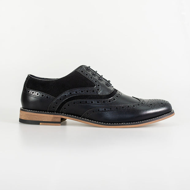 Ethan Black Brogue Shoes