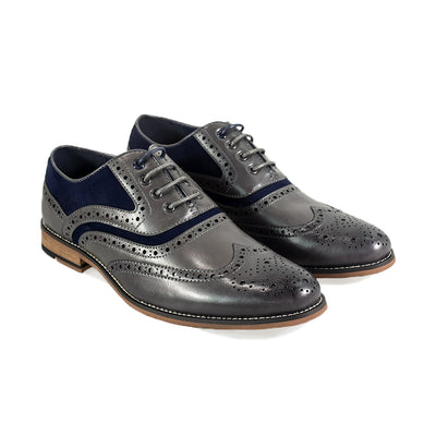 Ethan Grey Navy Brogue Shoes