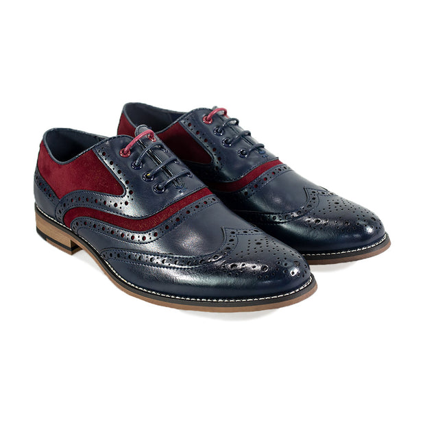 Ethan Navy Red Brogue Shoes