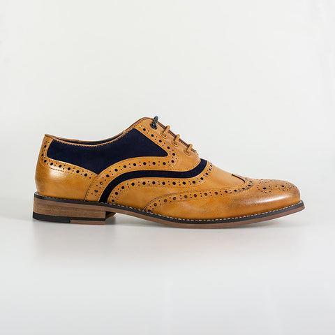 Ethan Tan Navy Brogue Shoes