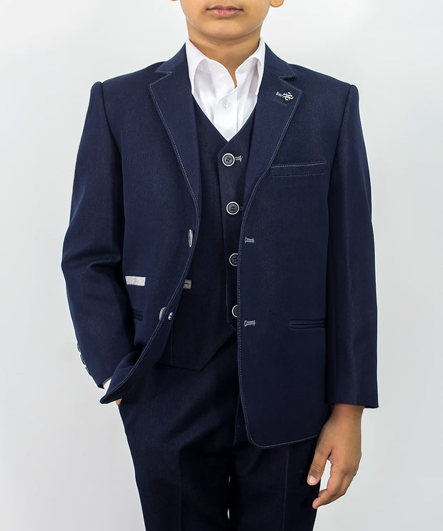 Fabian Navy Denim Boys Suit