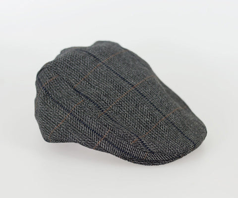 House Of Cavani Albert Grey Peaky Blinders Style Tweed Flat Cap Hat
