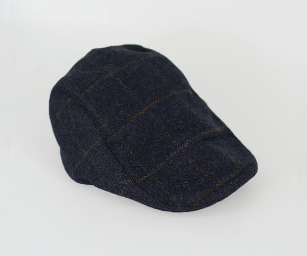 House Of Cavani Kemson Navy Blue Peaky Blinders Style Tweed Flat Cap Hat