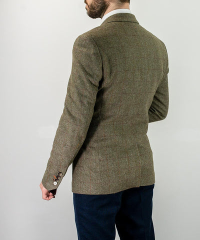 Gaston Sage Tweed Slim Fit Blazer