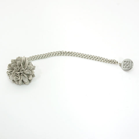 Grey Lapel flower Chain Pin