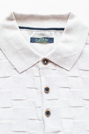 Cavani Ecru Textured Polo Shirt