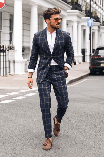 Hardy Navy Checked Blazer