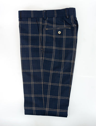 Hardy Navy Check Slim Fit Trousers