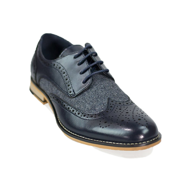 Horatio Navy Tweed Brogue Shoes