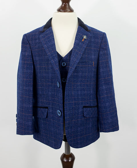 Kaiser Blue Check Boys Suit