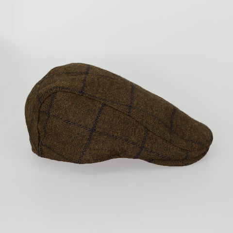 Kemson Tan Tweed Check Flat Cap