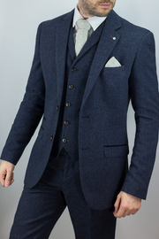 Martez Navy Tweed Suit
