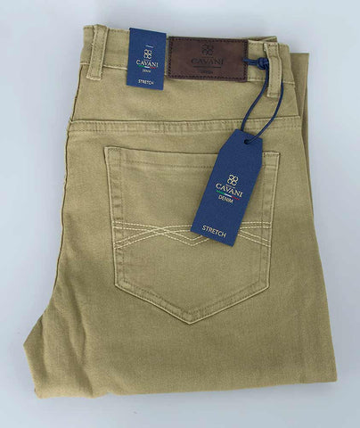 House Of Cavani Milano Beige Stretch Denim Jeans