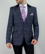 House Of Cavani Miles Tweed Navy Check Blazer Wedding Jacket