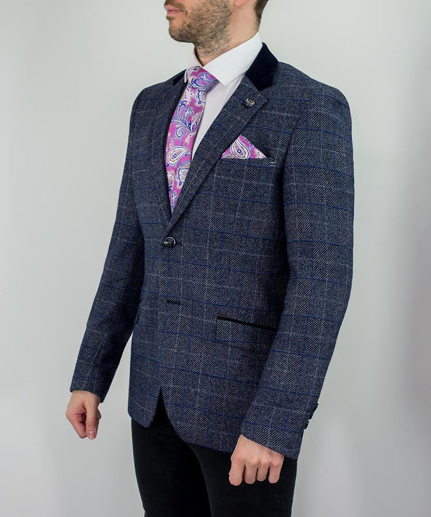 Miles Navy Blue Check Tweed Blazer